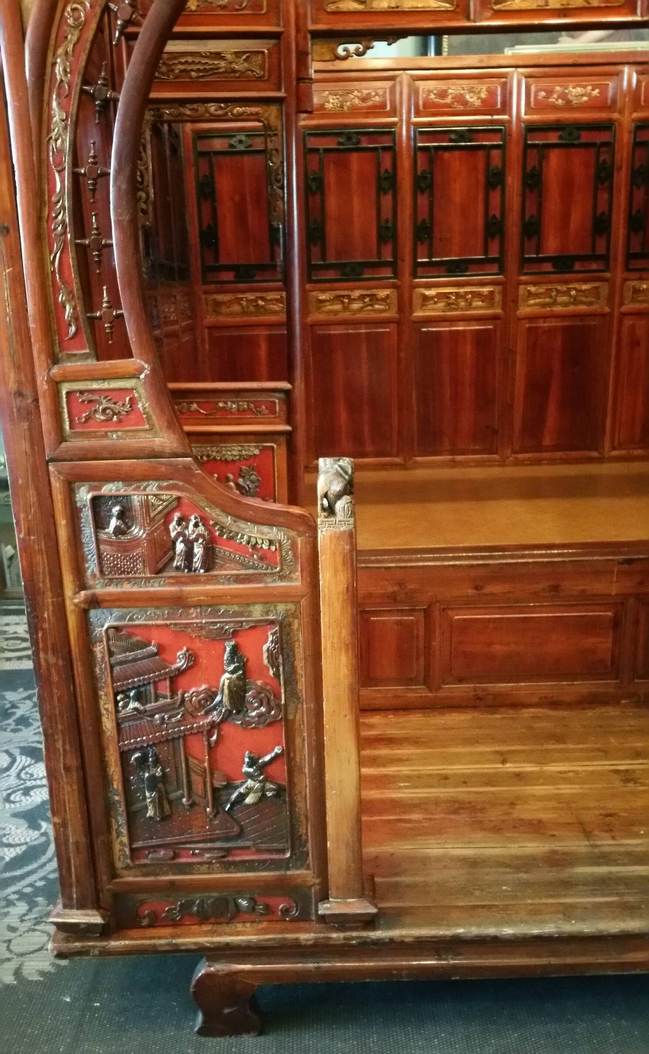 Antique Chinese Carved Canopy Bed with Alcove For Sale 5