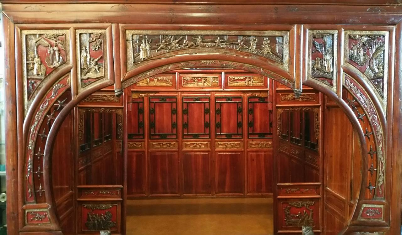 Antique Chinese Carved Canopy Bed with Alcove For Sale 2