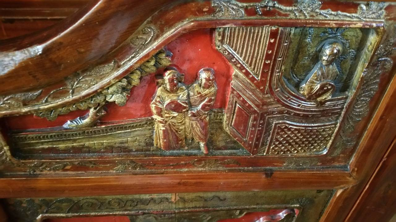 Antique Chinese Carved Canopy Bed with Alcove For Sale 1