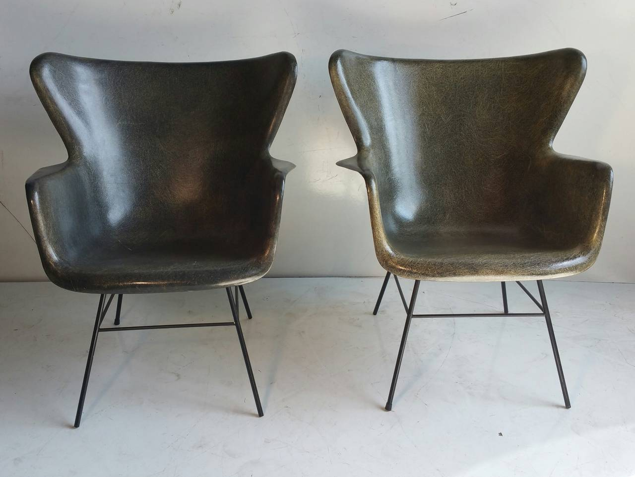 Pair Of Fiberglass And Wire Iron Lounge Chairs, Designed By George Peabody  For Selig,