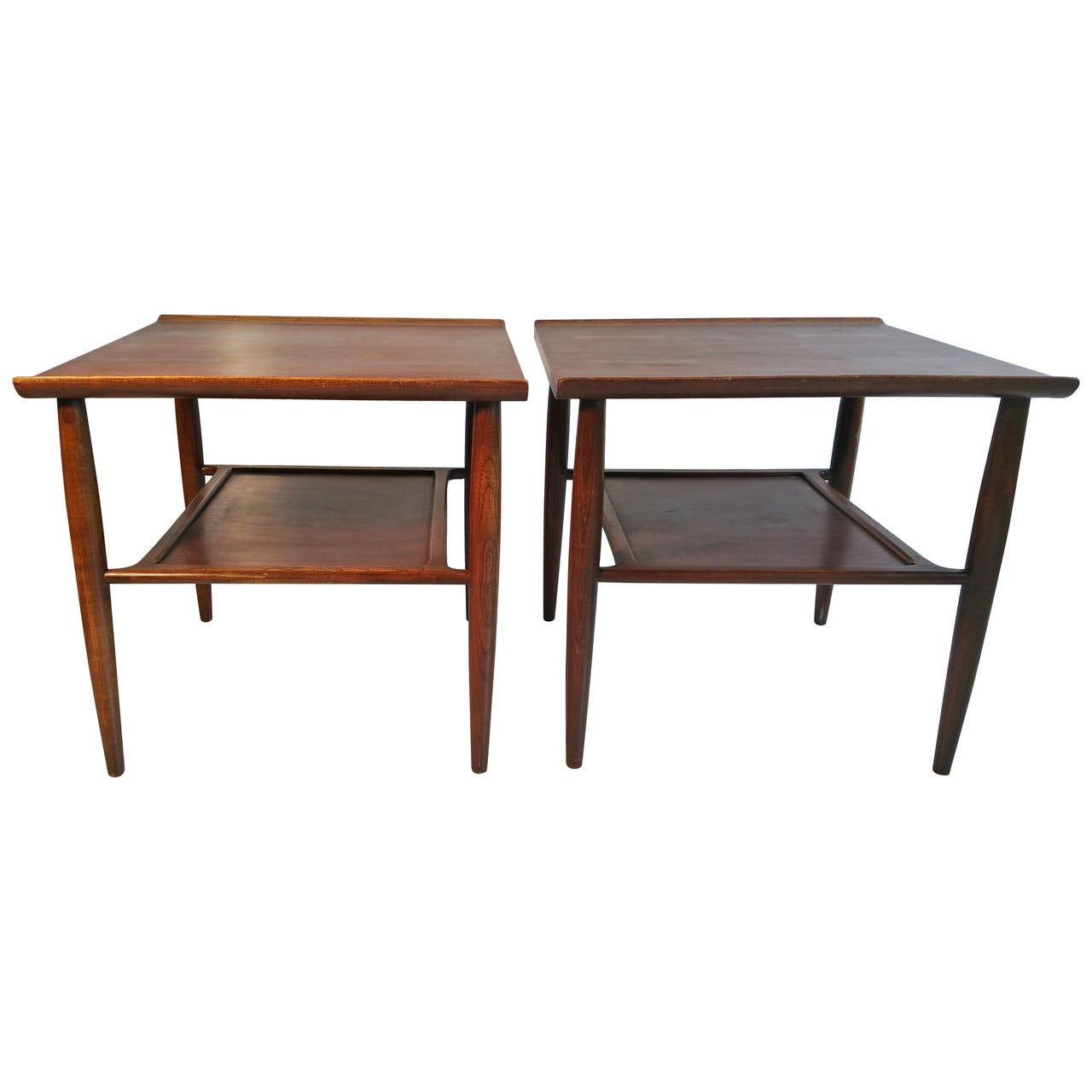Matched Pair Of End Tables In Walnut Oak And Ash By