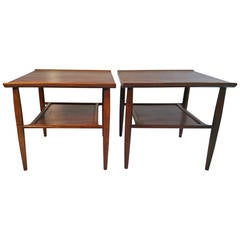 Matched Pair of End Tables in Walnut, Oak and, Ash by Baumritter, Mid Century