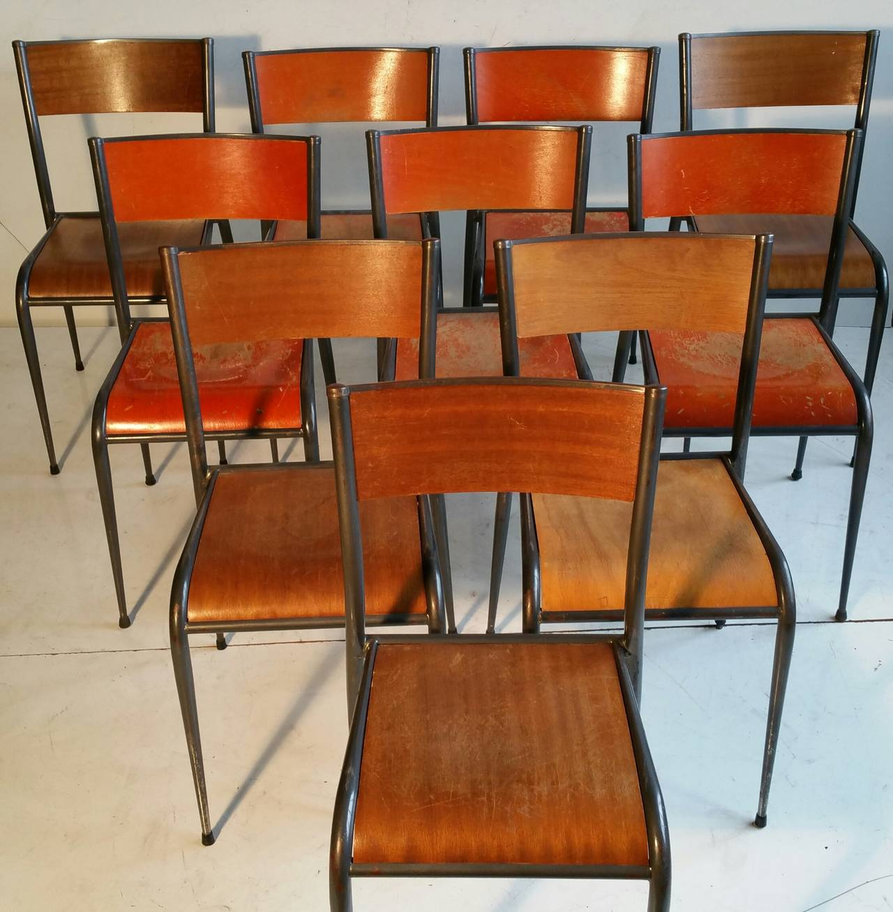 Set Of Ten French Industrial Schoolhouse Chairs 2