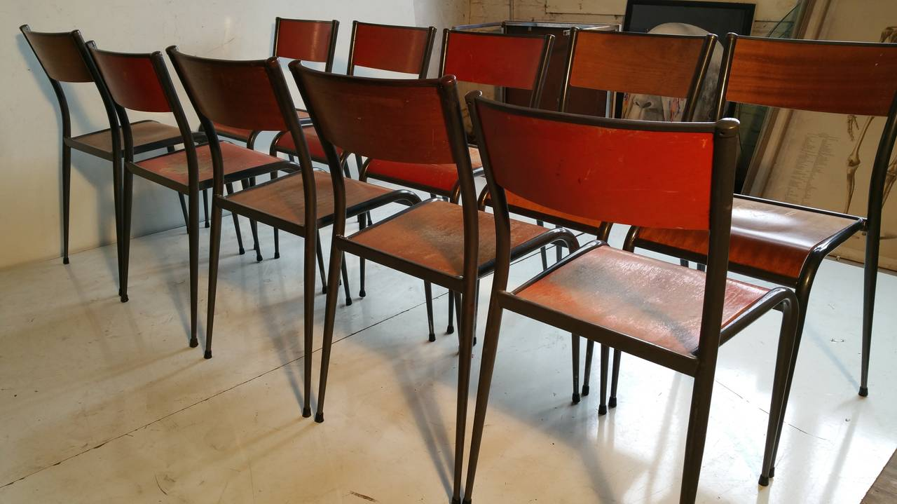 Mid Century Modern Set Of Ten French Industrial Schoolhouse Chairs For Sale