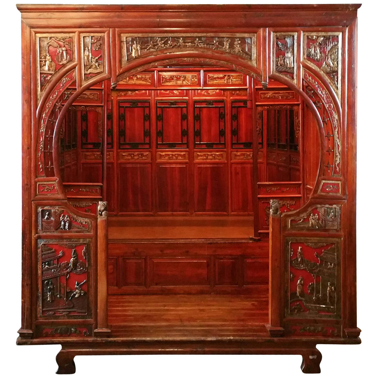 Antique Chinese Carved Canopy Bed With Alcove For Sale At