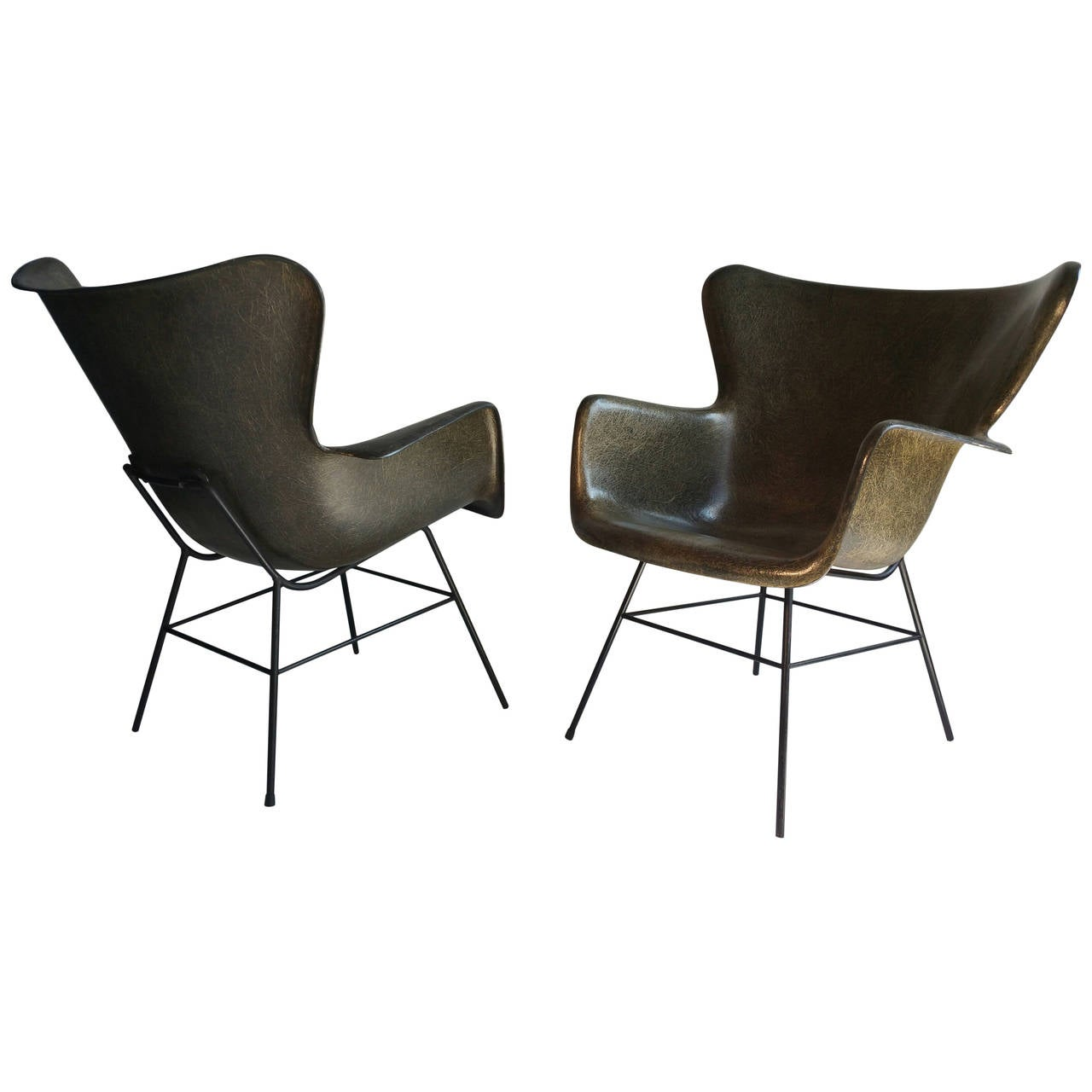 Living Room Lounge Chairs Sale pair of luther conover molded fiberglass lounge chairs for sale at 1