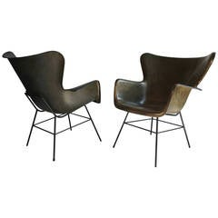 Pair of George Peabody for Selig Molded Fiberglass Lounge Chairs