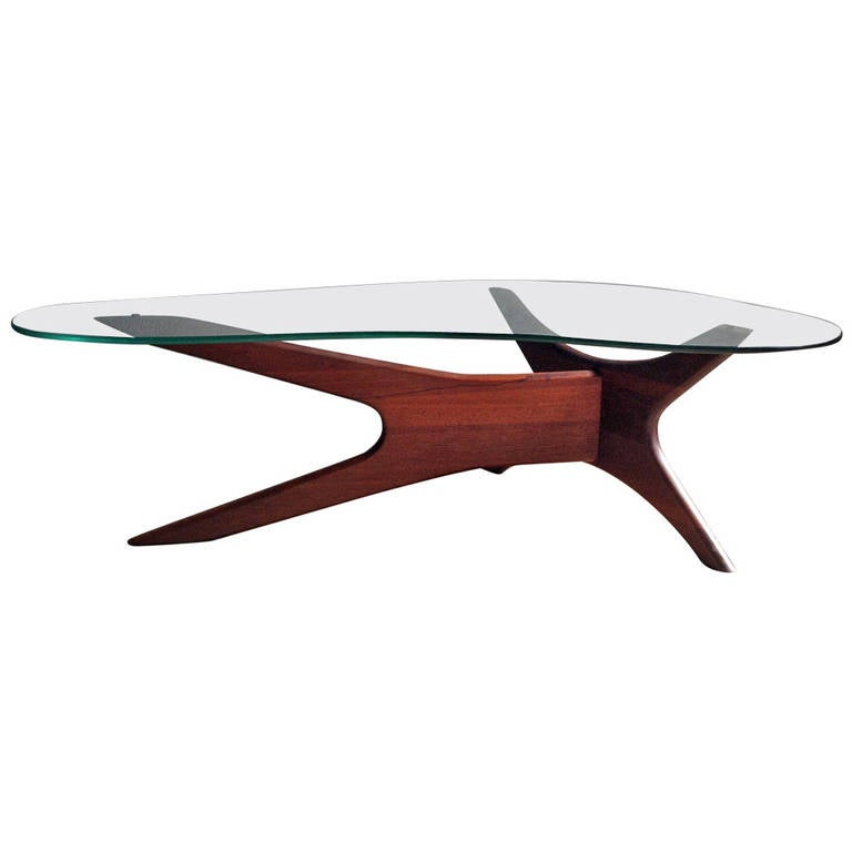 Adrian Pearsall coffee table,, biomorphic,walnut and free form glass 1 - Adrian Pearsall Coffee Table,, Biomorphic,walnut And Free Form