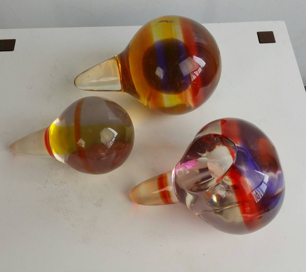 Molded Set of Three Modernist Lucite Polysphere Sculptures For Sale