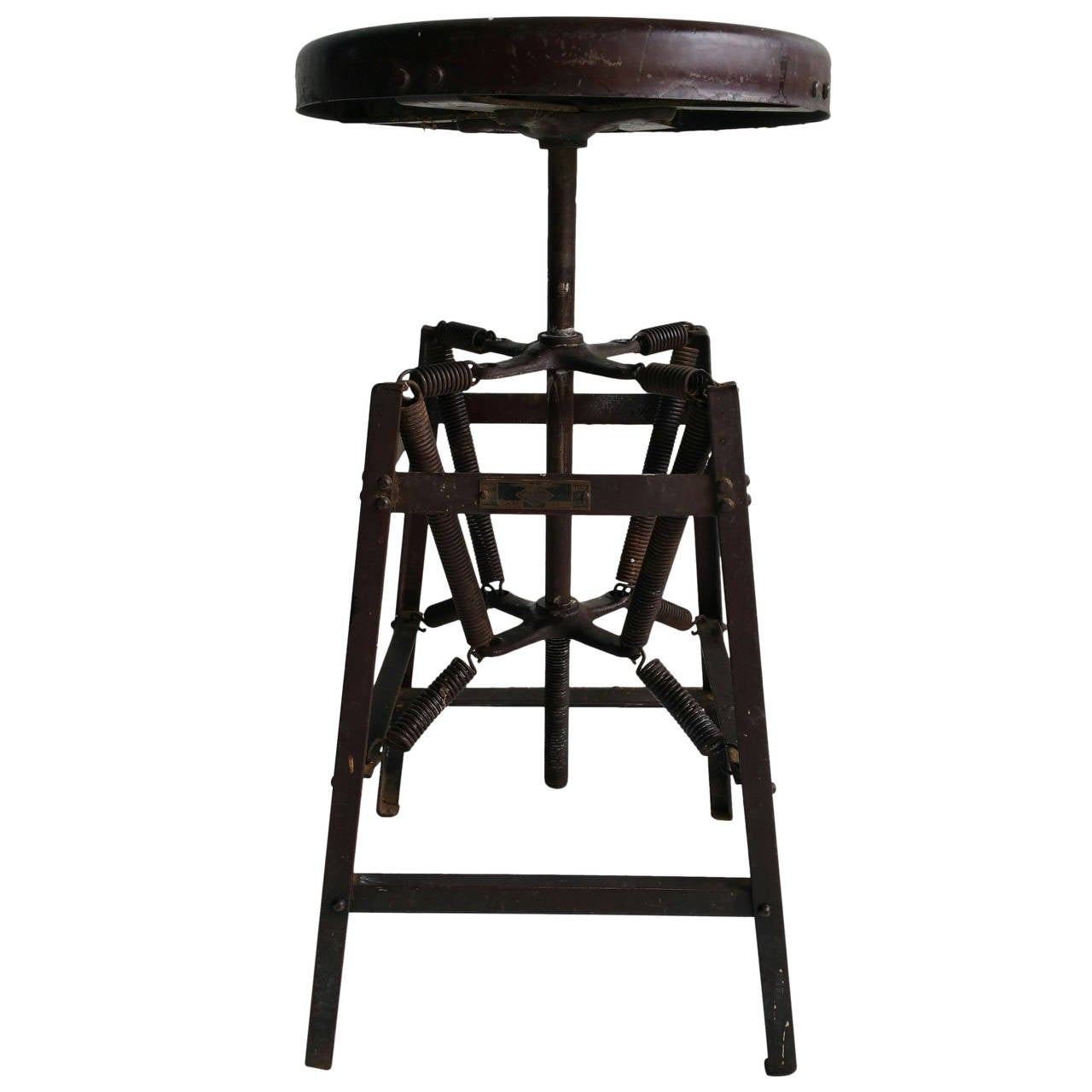 Rare Eight Spring Antique Industrial Stool At 1stdibs