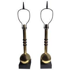 Pair of Regency Brass Spheres, Modernist Table Lamps