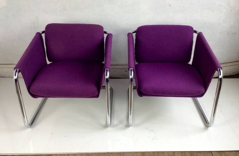 Pair Of 1970s Tubular Chromed Sling Chairs Space Age