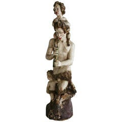 """Large Antique Carved Wood Sculpture,, """"Pan"""" (GOD)"""