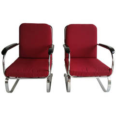 Matched pair Chromed Steel Art Deco Springer Chairs,, LLoyd Mnfg Co.