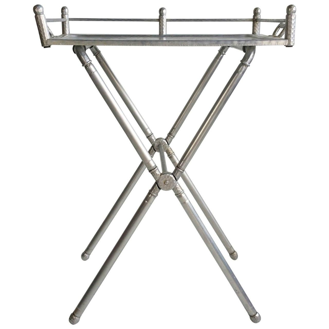 Everlast Polished Aluminum Folding Bar Tray Table at 1stdibs
