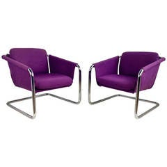 Pair of 1970s Tubular Chromed Sling Chairs, Space Age, Thonet