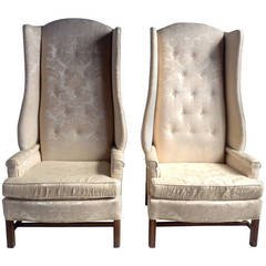 """Monumental Oversized Stylized Wing Chairs Tall """"Paris Decorators"""""""