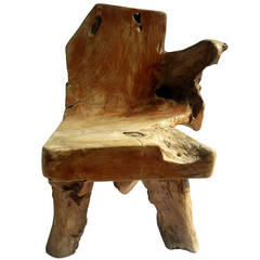 Exceptional Redwood Burl Chair with Free Edge