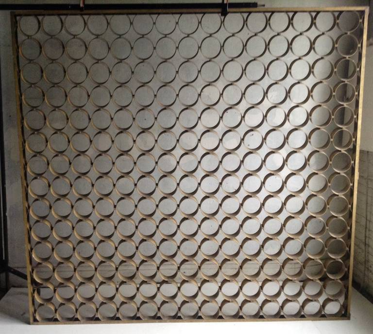 Amazing design ,Anodized Alumimum Screen. Room divider,, Originaly off of downtown buffalo police station,, architectural design element..unusual arrow pin ring connection::