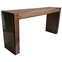 Classis 70's Parson Style Console table. quilted maple