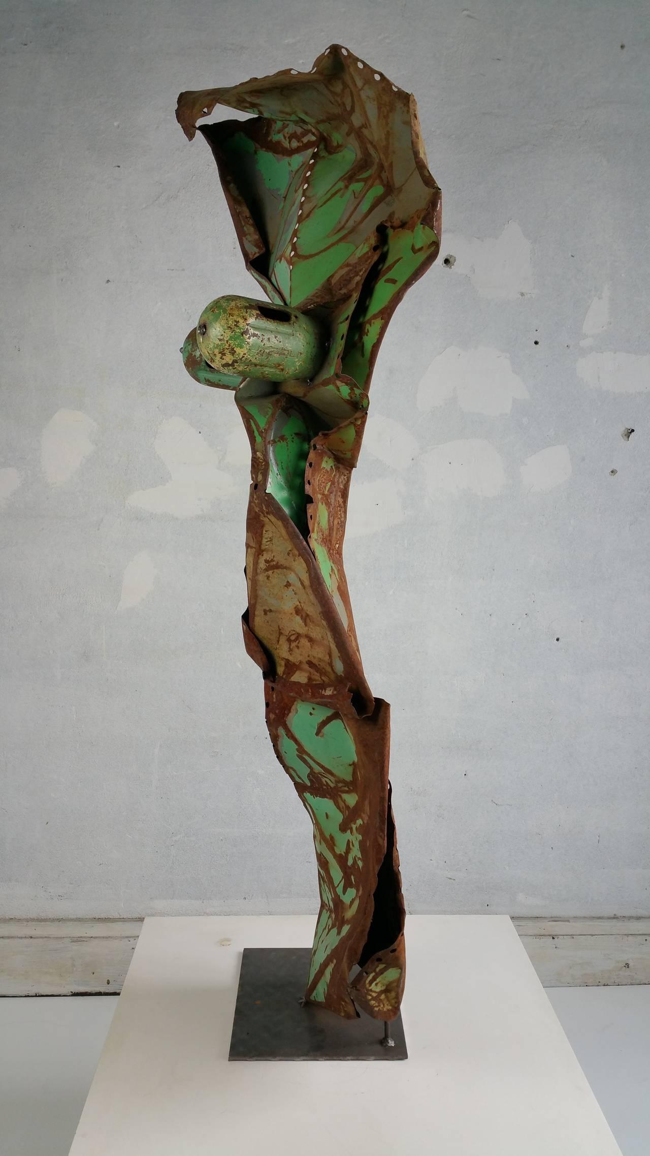 Monumental 5 Foot Metal Abstract Brutalist Sculpture