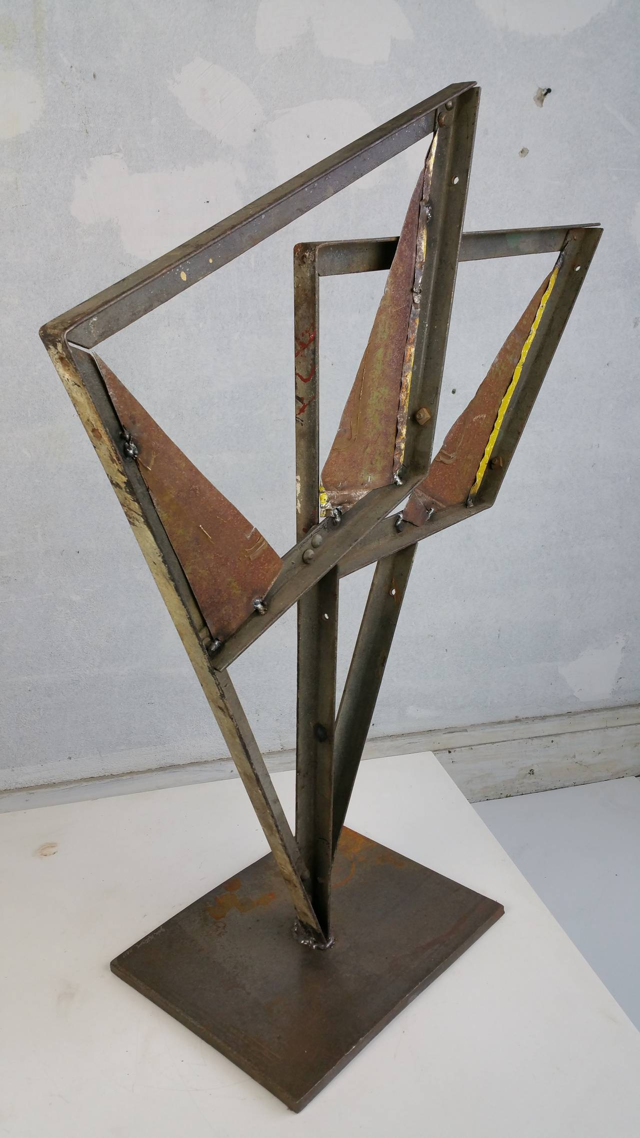 Industrial Painted Metal Abstract Sculpture John Metzan For Sale At 1stdibs