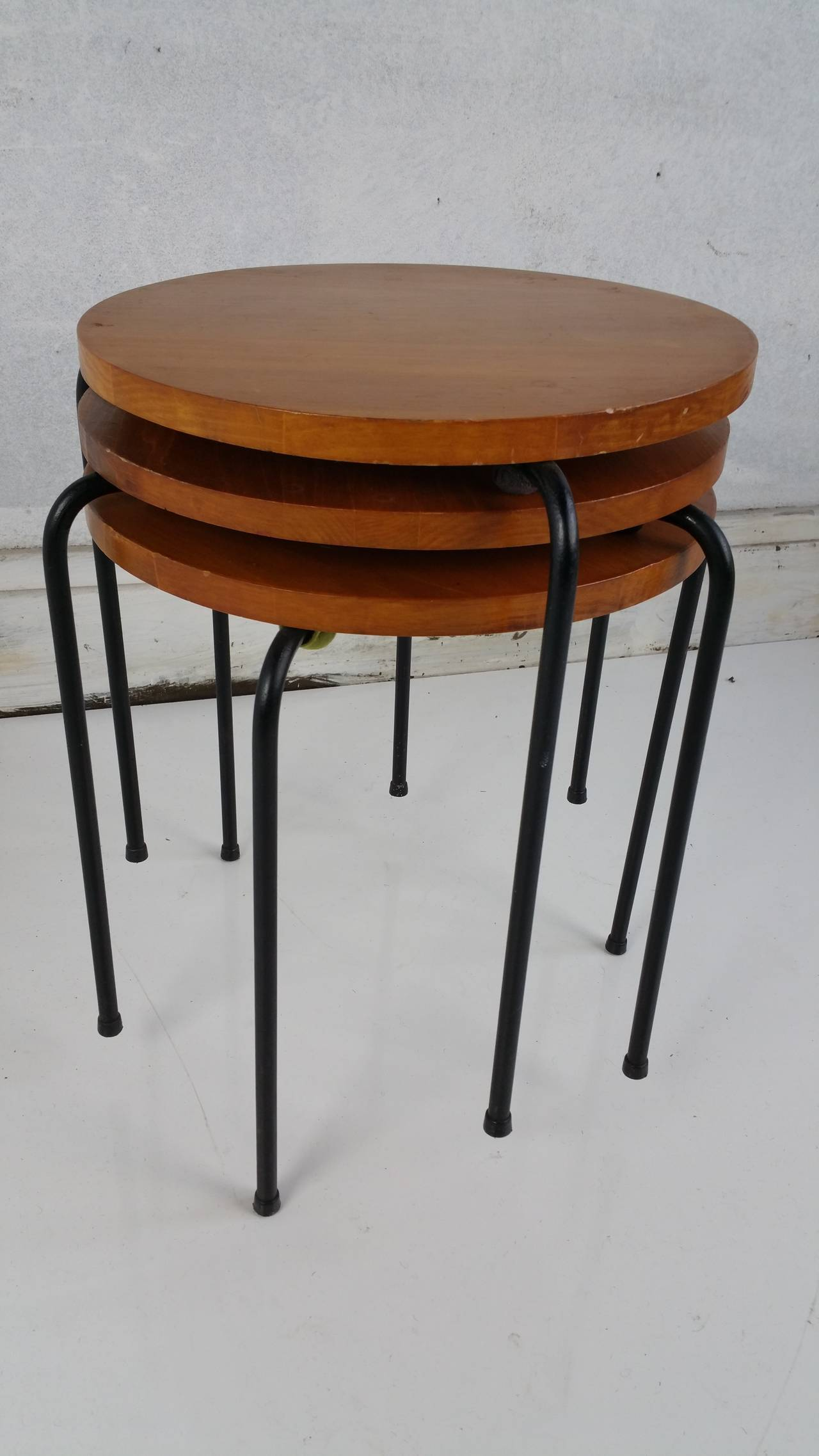 Mid century modern wood and wire iron stacking tables at
