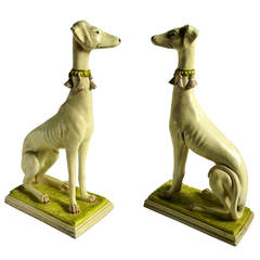 Large Pair of Italian Ceramic Decorative Dogs,,Whippets