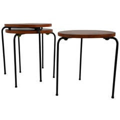 Mid Century Modern Wood and Wire Iron Stacking Tables