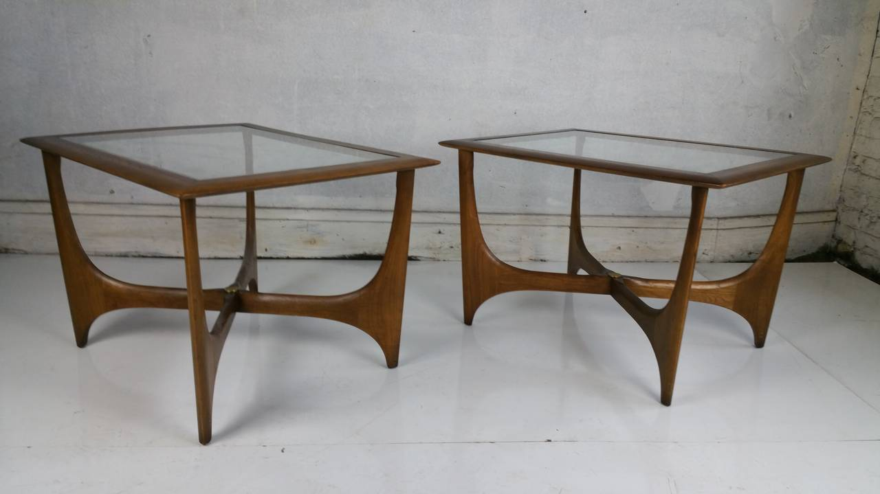 Pair Of Mid Century Modern Walnut And Glass Side Tables Made By