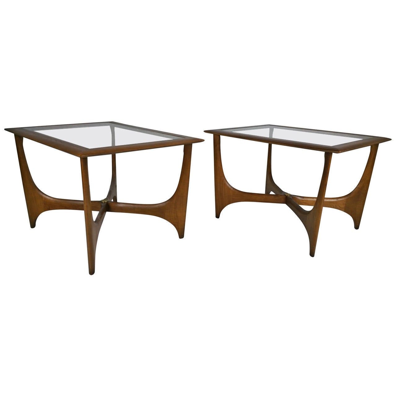 pair of midcentury modern walnut and glass side tables made by  - pair of midcentury modern walnut and glass side tables made by lane