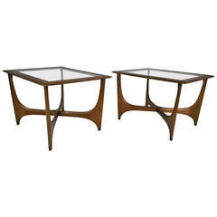 Pair of Mid-Century Modern Walnut and Glass Side Tables, Made by Lane