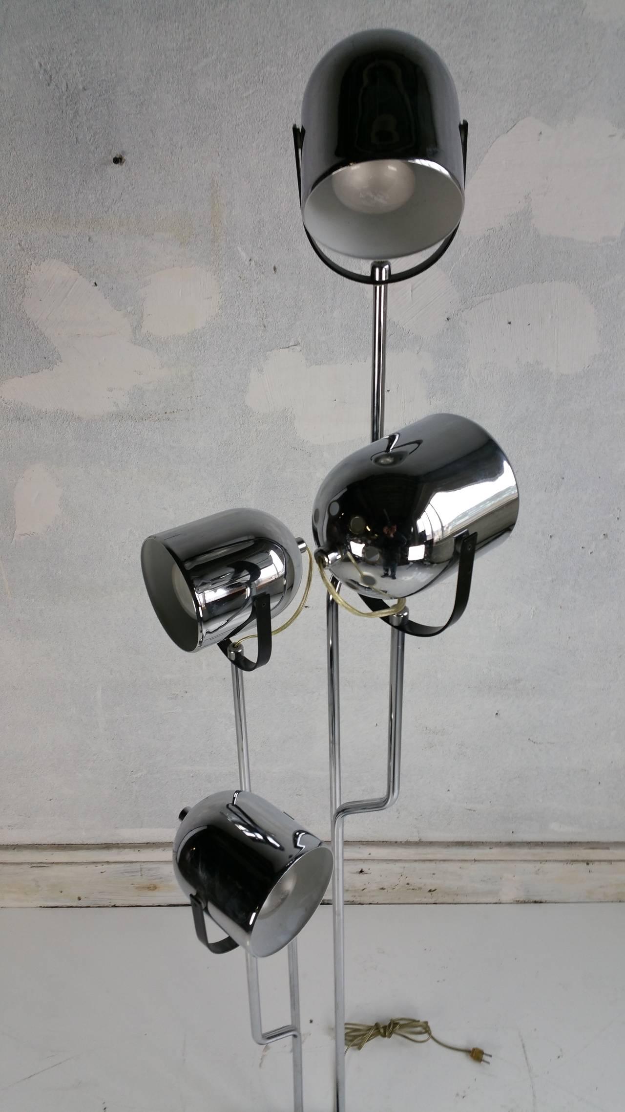 Reggiani 4 head chrome and black floor lamppop 60s for for Reggiani chrome floor lamp