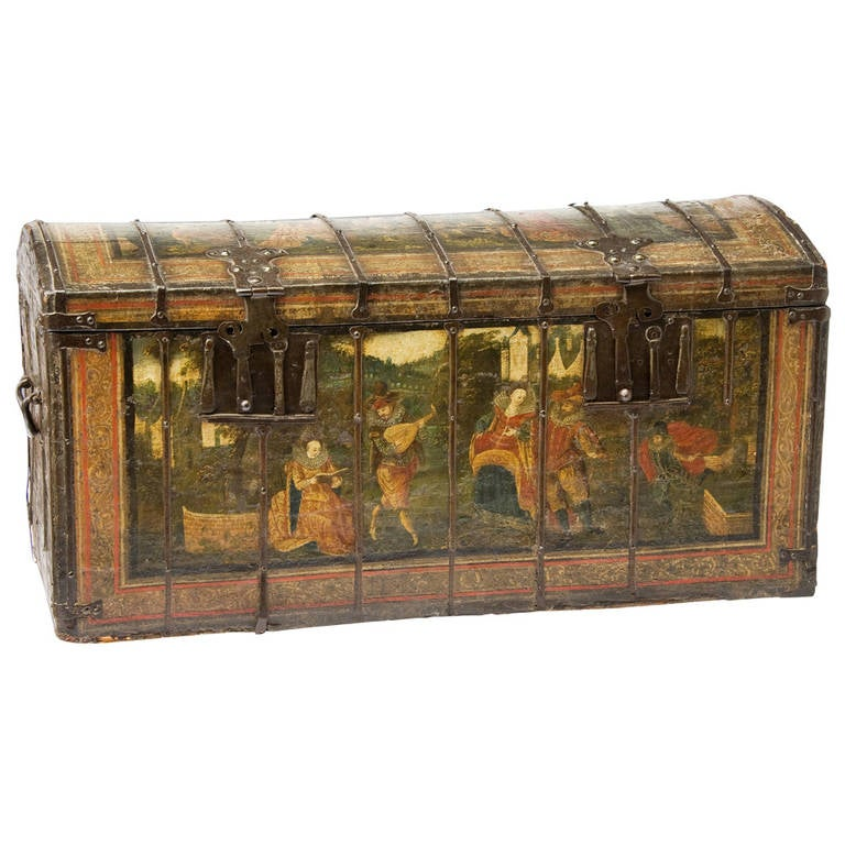 Painted And Iron Bound Chest Dated 1605 At 1stdibs