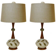 Pair of Mid-Century Modern Walnut and Ceramic Lamps