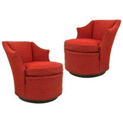 Pair of Red Swivel Chairs Attributed to Edward Wormley for Dunbar Furniture