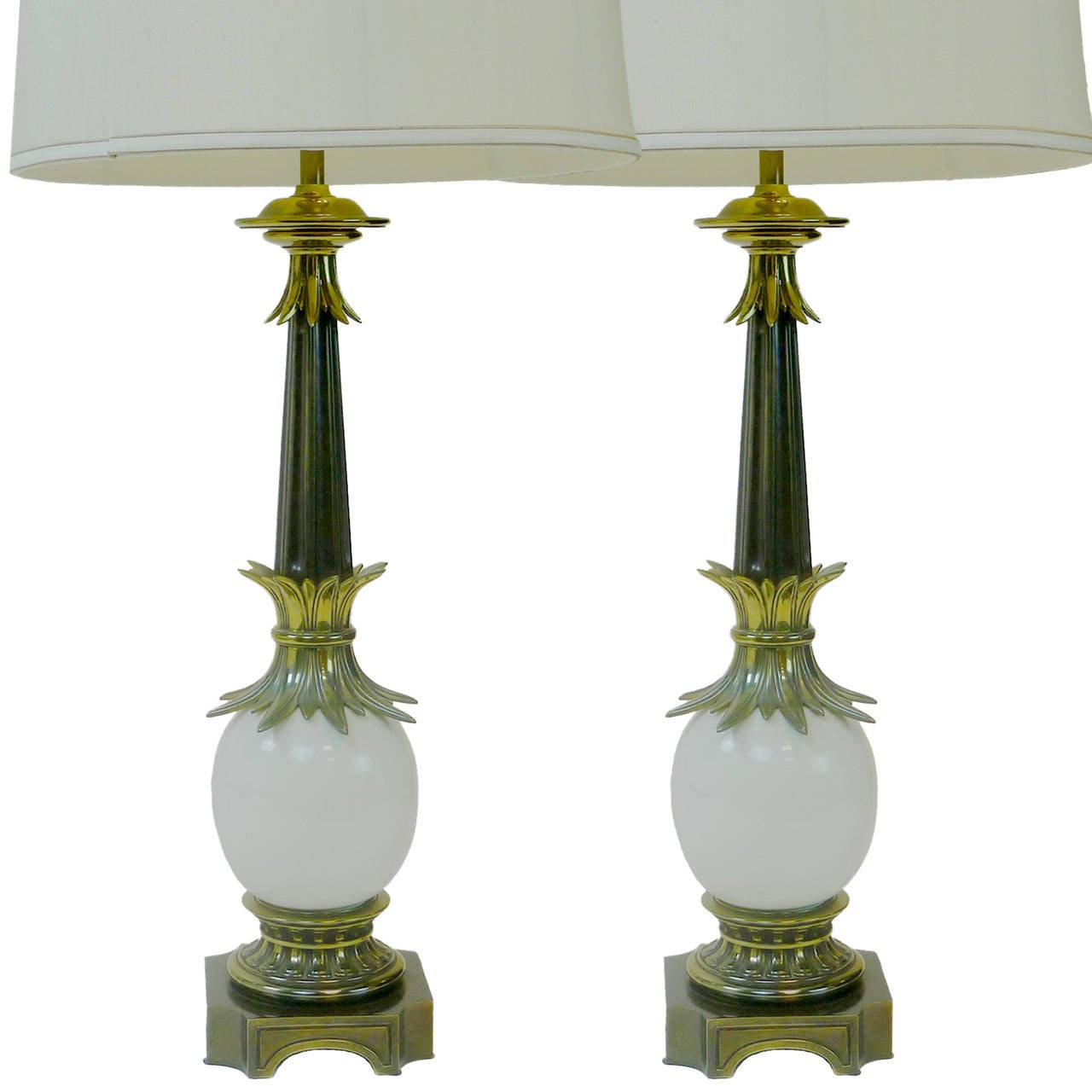 Pair of Stiffel Ostrich Egg Lamps with Brass Sheaf of Wheat Details
