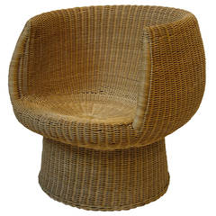 Rattan Pod Chair in the Manner of Eero Aarnio