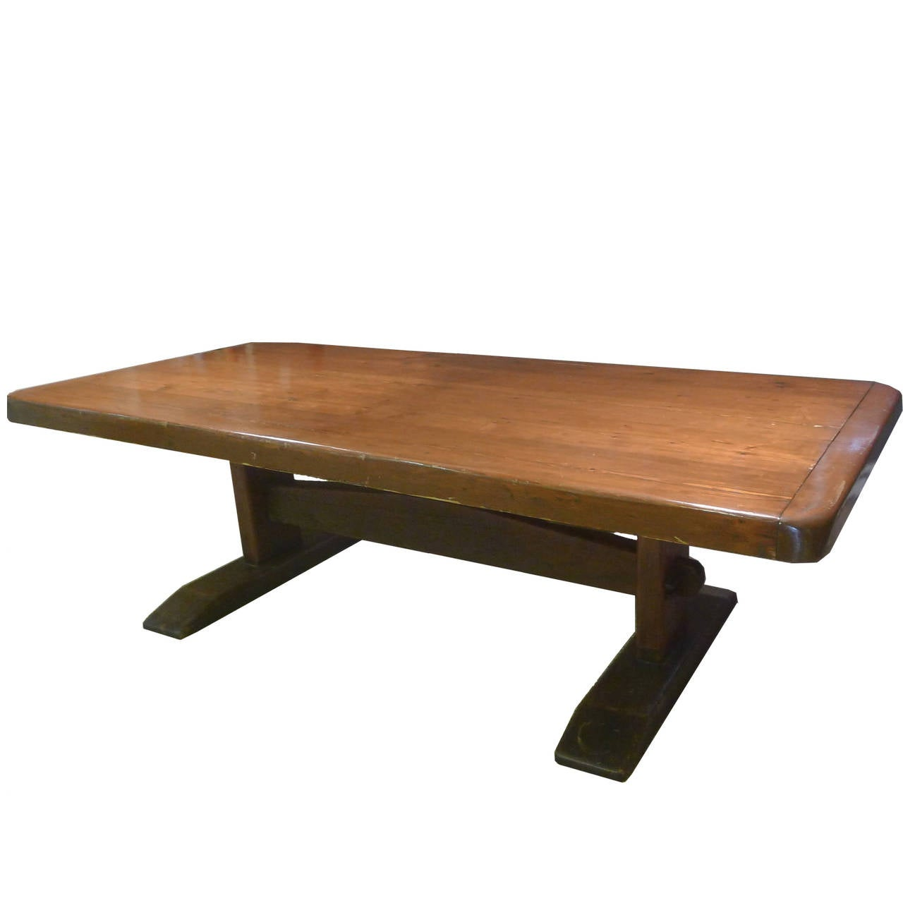 Solid, Heavy Early American Trestle Table Crafted From Solid Pine. Shows  Beautiful Age.