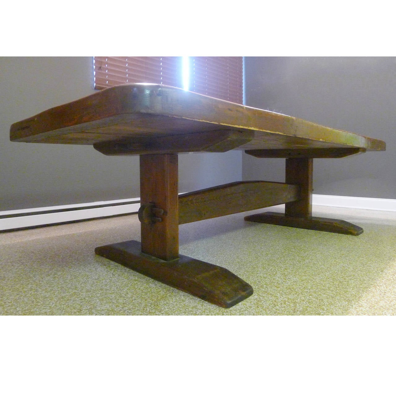 Monumental 8 1 2 Foot Long Early American Solid Pine Trestle Farm Table For S