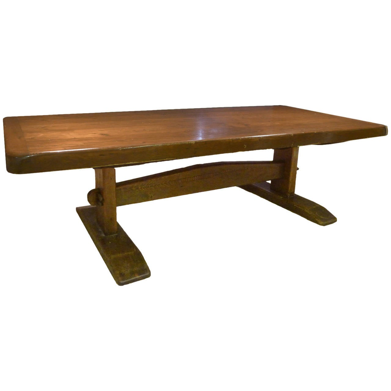 Monumental 8 1/2 Foot Long Early American Solid Pine Trestle Farm Table For  Sale
