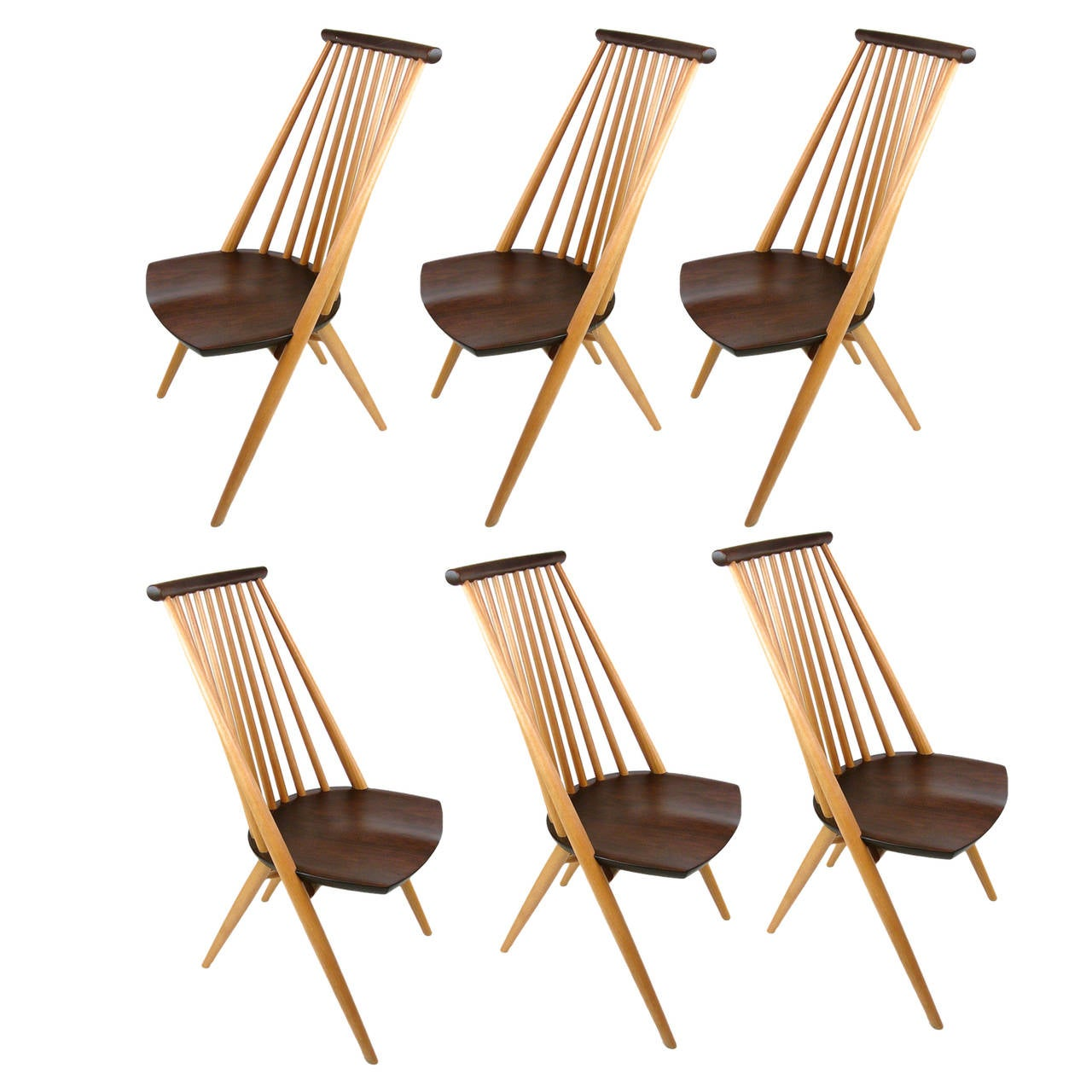 Stunning Handcrafted Tateishi Shoiji Dining Chairs In Walnut And Oak At 1stdibs