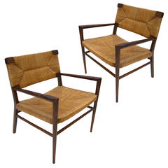 Pair of Mel Smilow Lounge Chairs in Walnut with Rush Seating