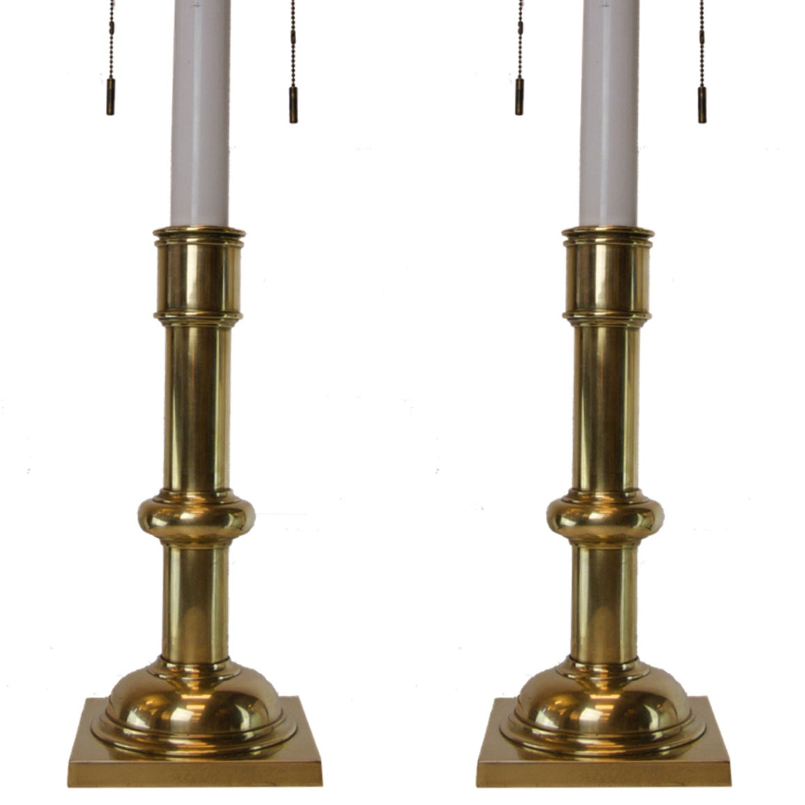A nicely polished pair of brass Stiffel lamps in a Classic design.
