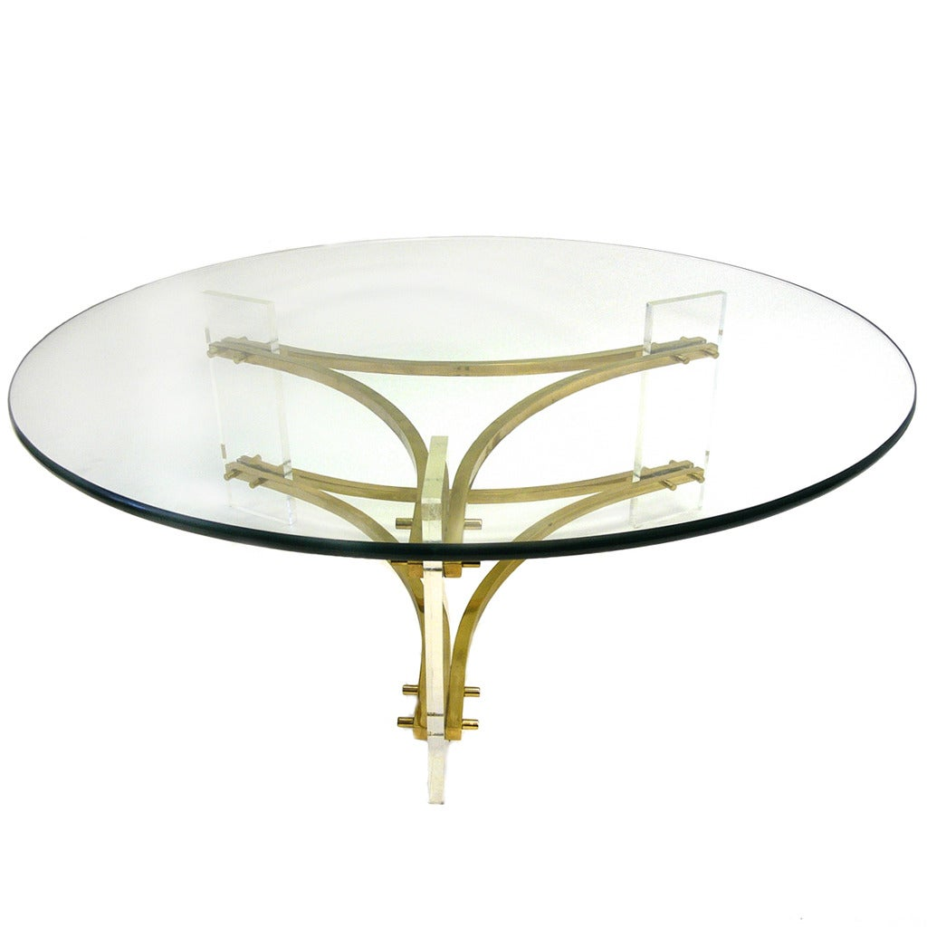 Hollywood Regency Round Glass Brass Lucite Table Charles Hollis Jones At 1stdibs