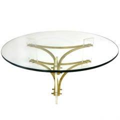 Hollywood Regency Round Glass, Brass, Lucite Table Charles Hollis Jones