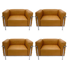 """Le Corbusier LC3 Saddle Tan Leather """"Grand Comfort"""" Lounge Chairs by Cassina"""