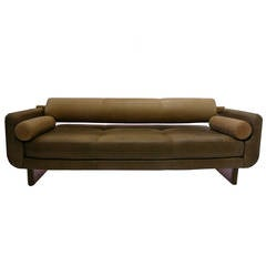 Vladimir Kagan Matinee Sofa or Daybed in Brown Leather