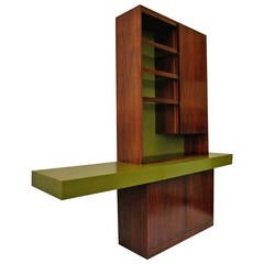 Vladimir Kagan Sculptural Lighted Walnut Sideboard or Buffet Display Cabinet