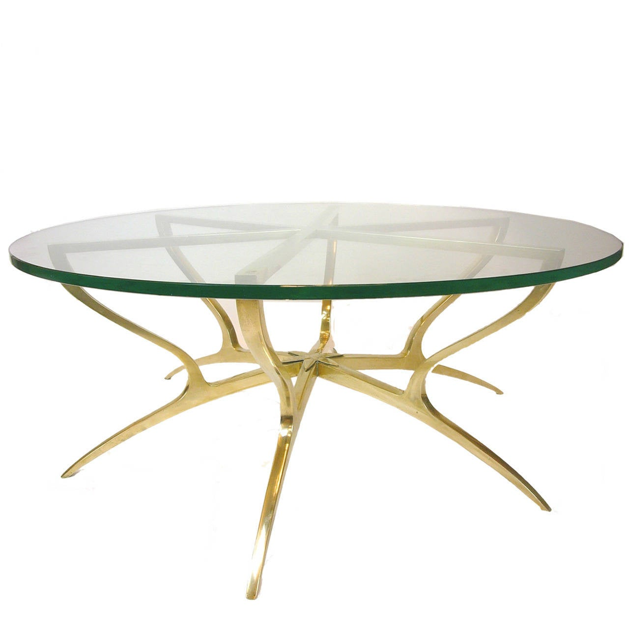 Heavy Solid Brass With Glass Italian Style Spider Legged Coffee Table At 1stdibs